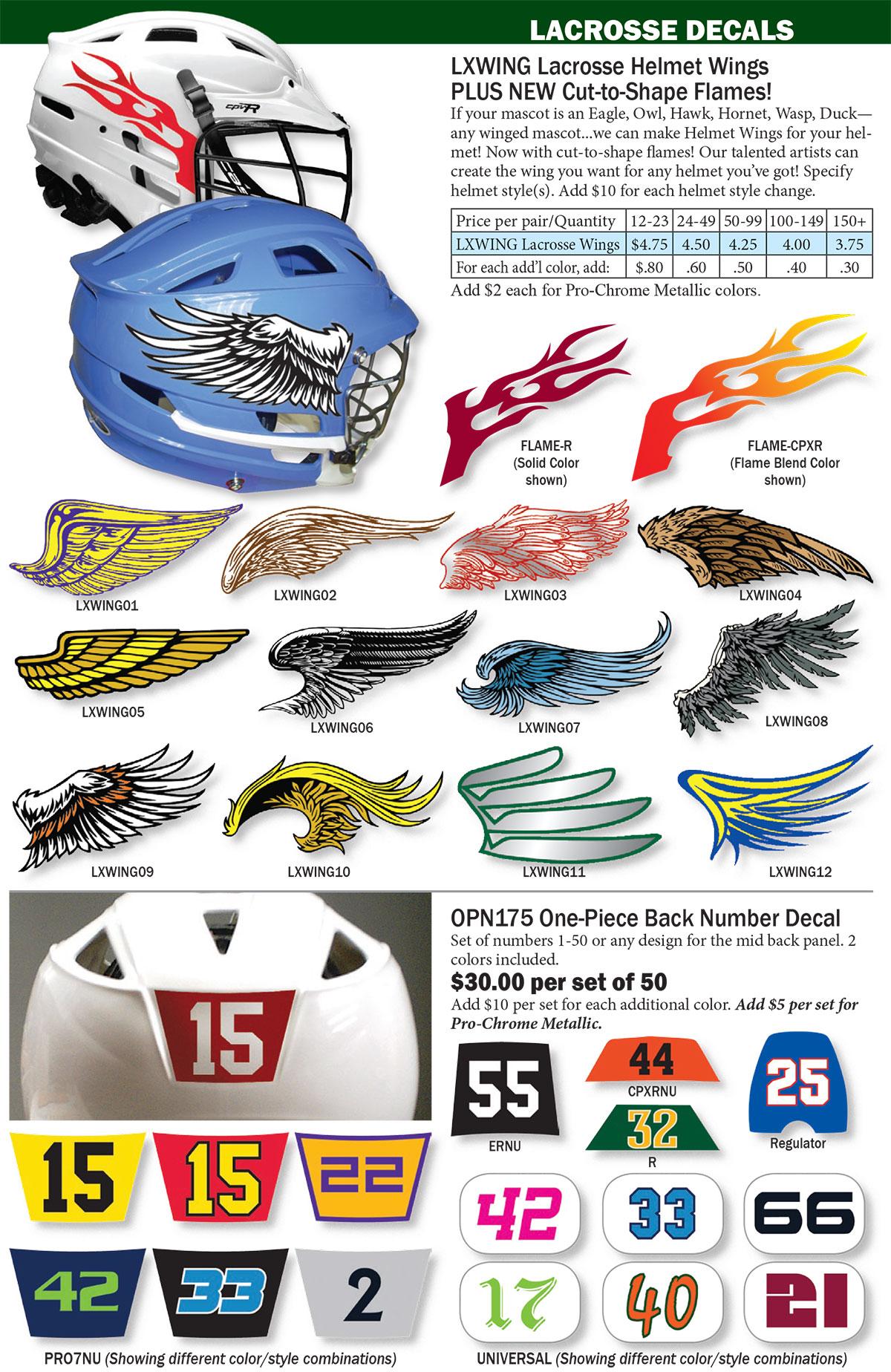 SPPSS Lacrosse Helmet Decals - Lacrosse helmet decals