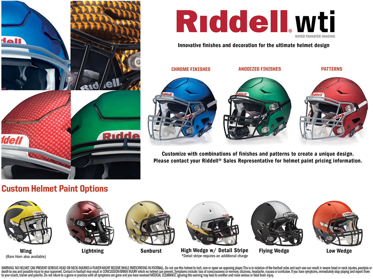 riddell american football helmets colours