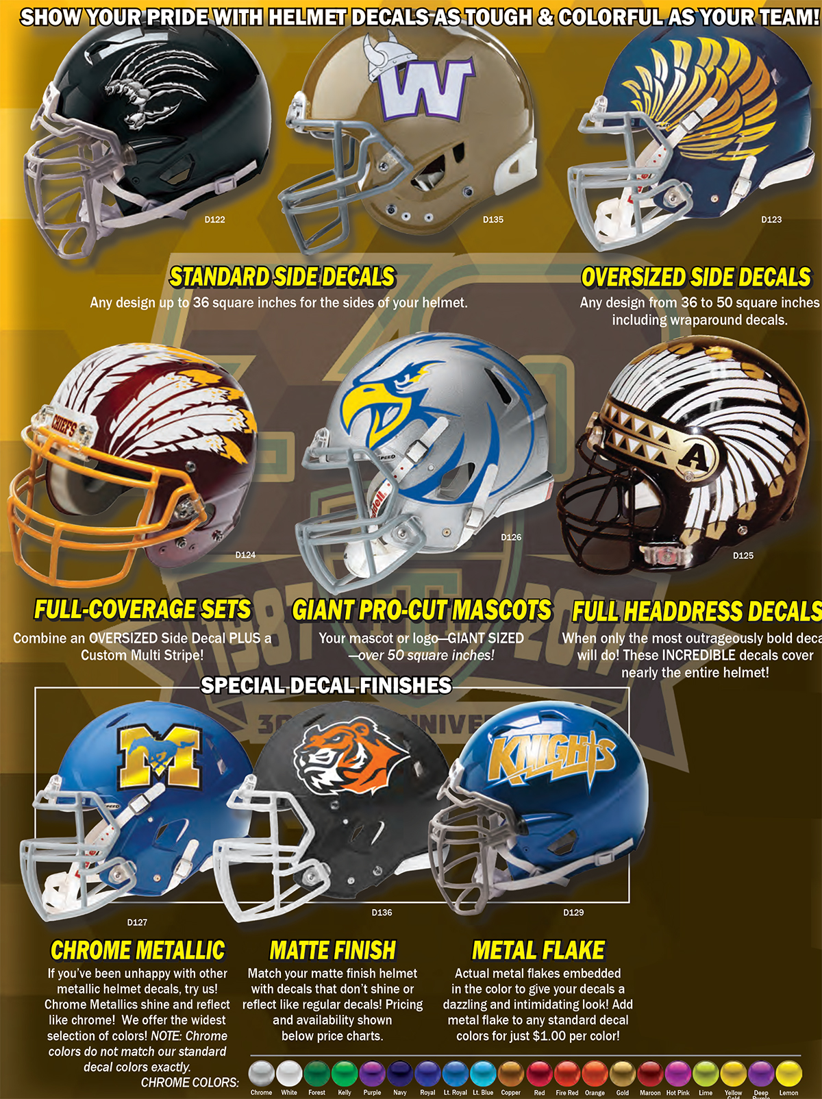 American football gridiron helmet decals 1