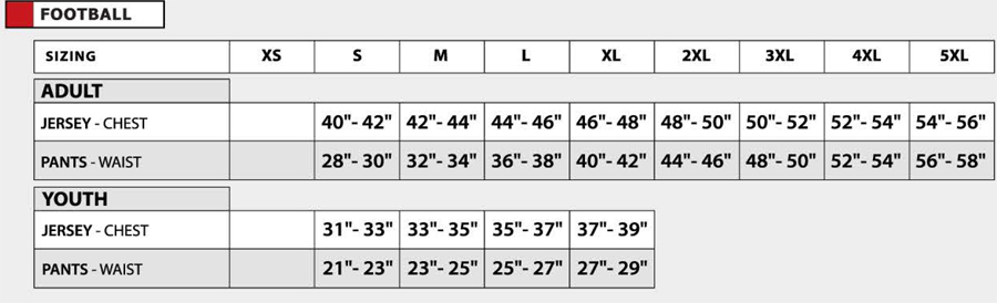 size chart for youth football jerseys